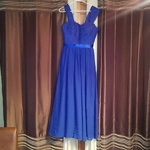 Royal blue beaded chiffon embroidered gown
